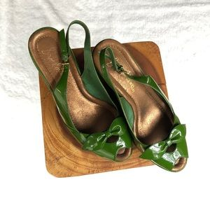 sam edelman dylan peep toe slingback patent wedges